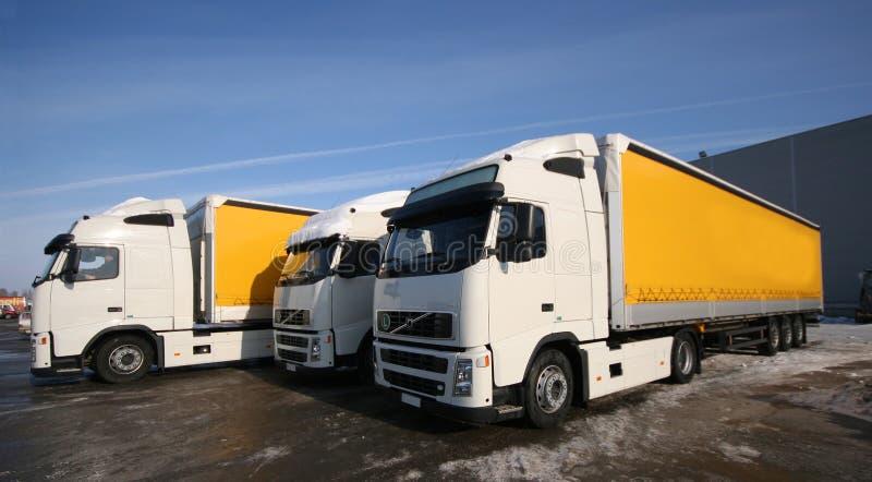 Três caminhões imagens de stock royalty free