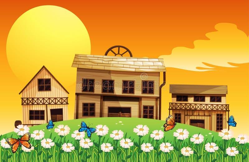 Três casas de madeira com flores ilustração royalty free