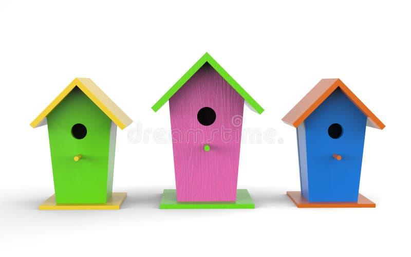 Três casas de pássaros coloridas sobre um fundo branco ilustração royalty free