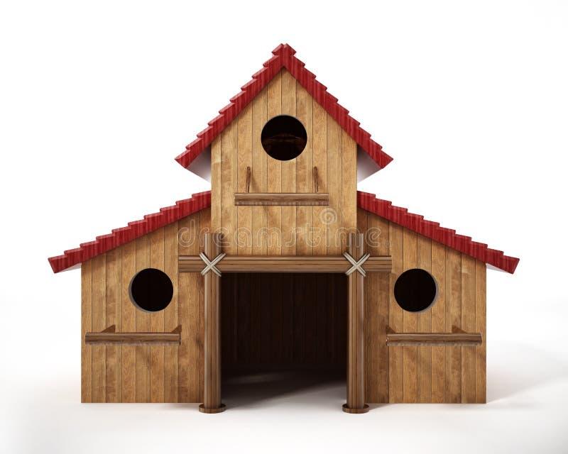 Tr?s casas do p?ssaro montadas junto formando um avi?rio grande ilustra??o 3D ilustração stock