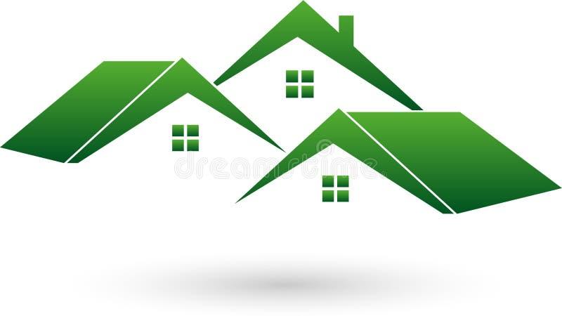 Três casas, telhados, logotipo dos bens imobiliários ilustração royalty free
