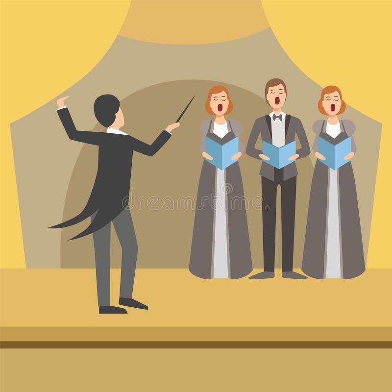 Três caudas de Person Choir And Operator Wearing ilustração stock