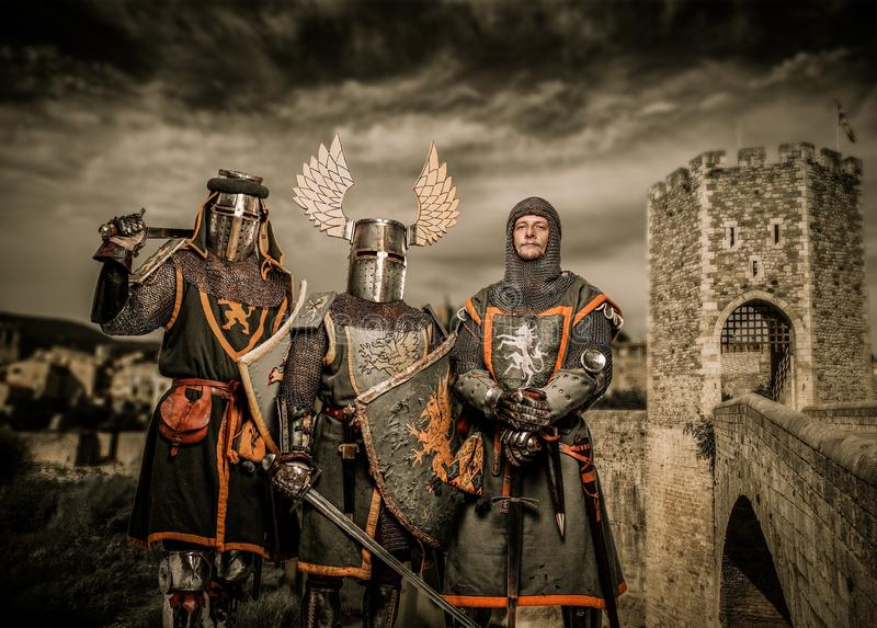 Três cavaleiros fotos de stock