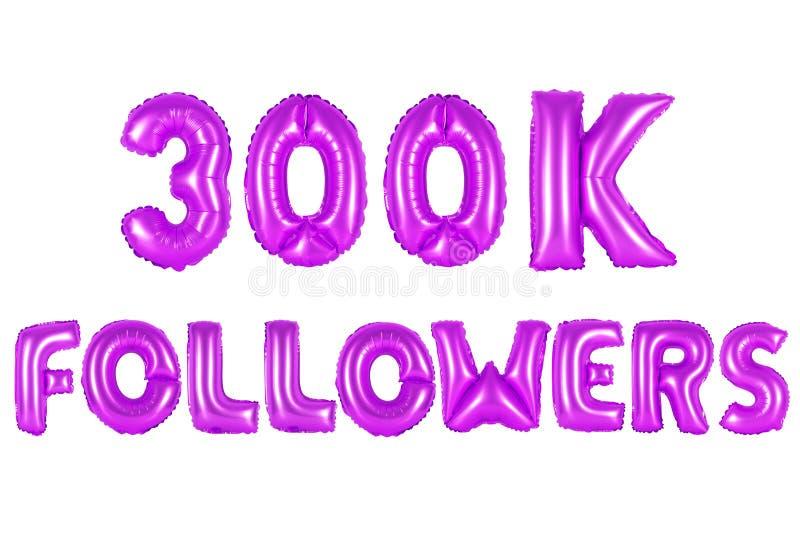 Três cem mil seguidores, cor roxa foto de stock royalty free