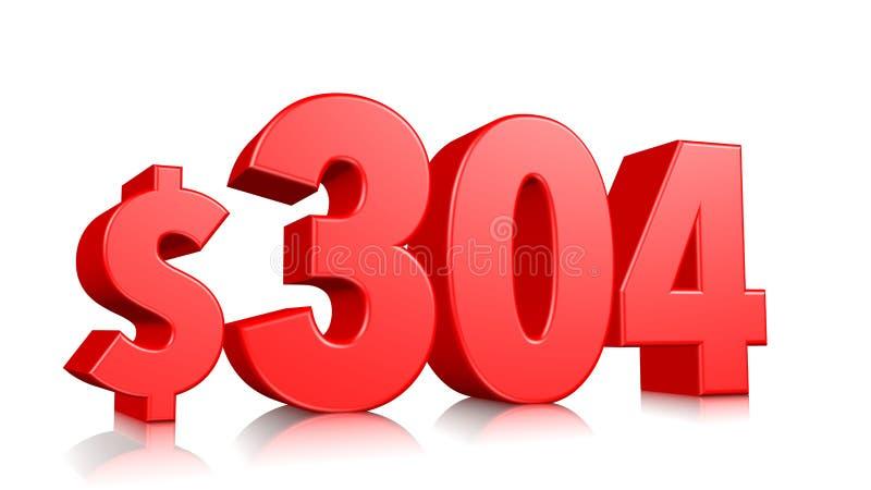 304$ três cem símbolos de quatro preços número vermelho 3d do texto para render com sinal de dólar no fundo branco ilustração royalty free