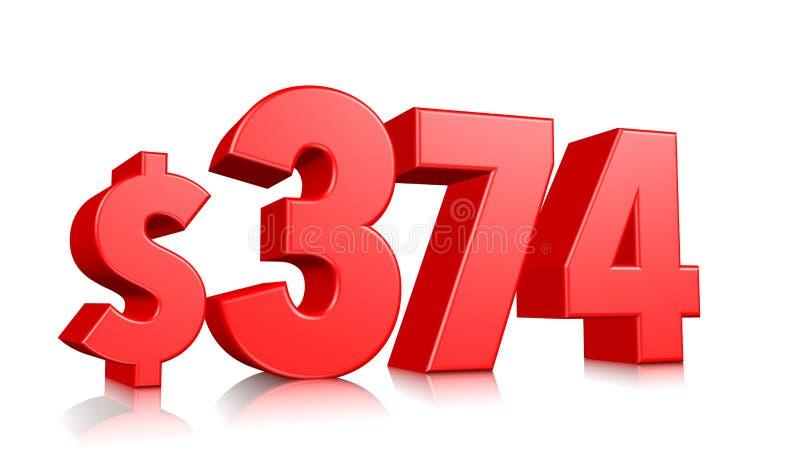 374$ três cem setenta símbolo de quatro preços número vermelho 3d do texto para render com sinal de dólar no fundo branco ilustração royalty free