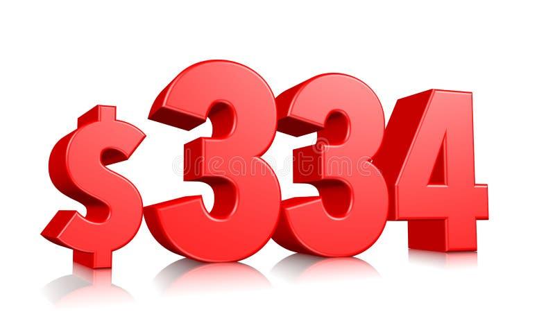 334$ três cem trinta e quatro símbolos do preço número vermelho 3d do texto para render com sinal de dólar no fundo branco ilustração stock