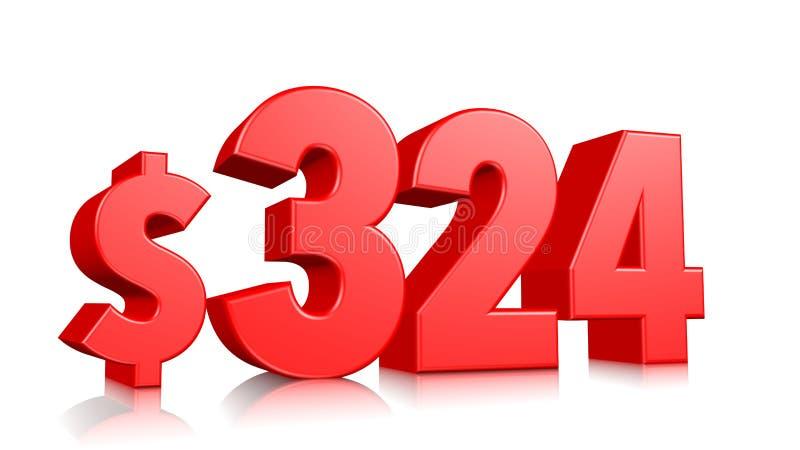 324$ três cem twenty-four símbolos do preço número vermelho 3d do texto para render com sinal de dólar no fundo branco ilustração royalty free