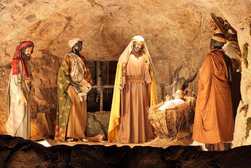 Três cenas dos Magi e do Jesus Cristo imagens de stock