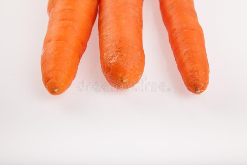 Três cenouras no fundo branco foto de stock