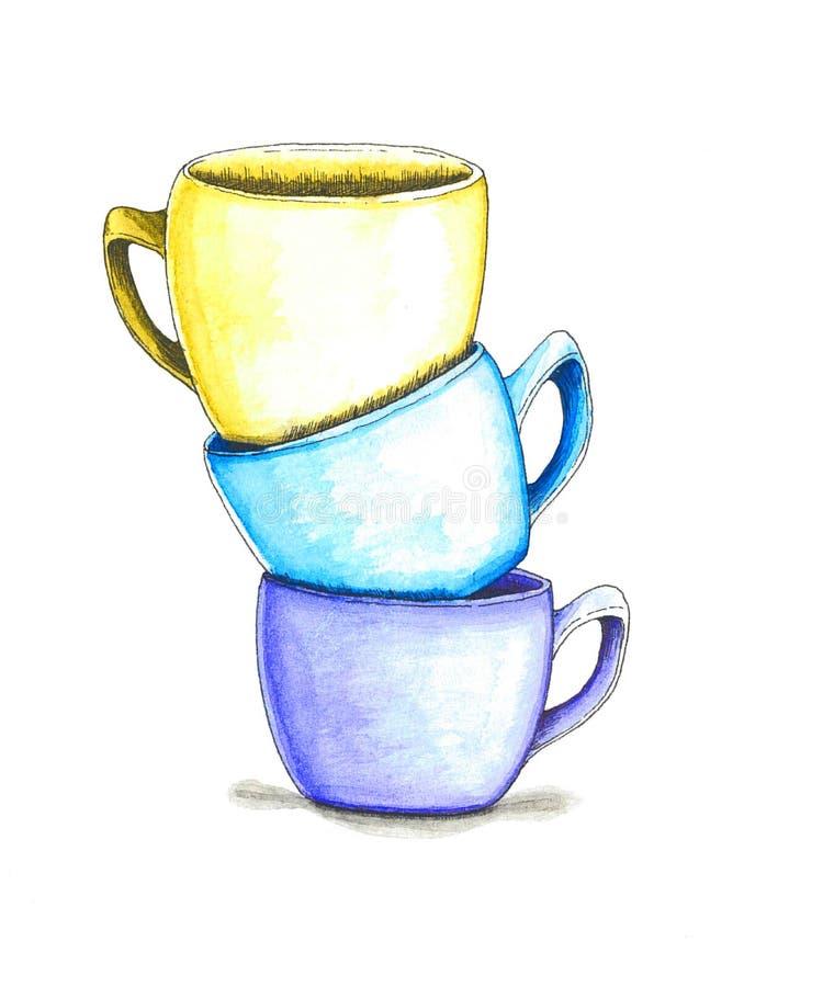 Três chá-copos da ilustração da aquarela fotografia de stock