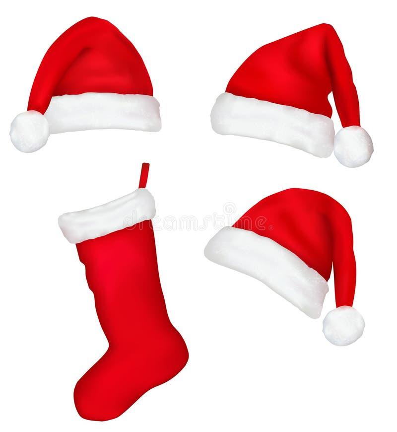 Três chapéus de Santa e meias vermelhos do Natal. ilustração stock