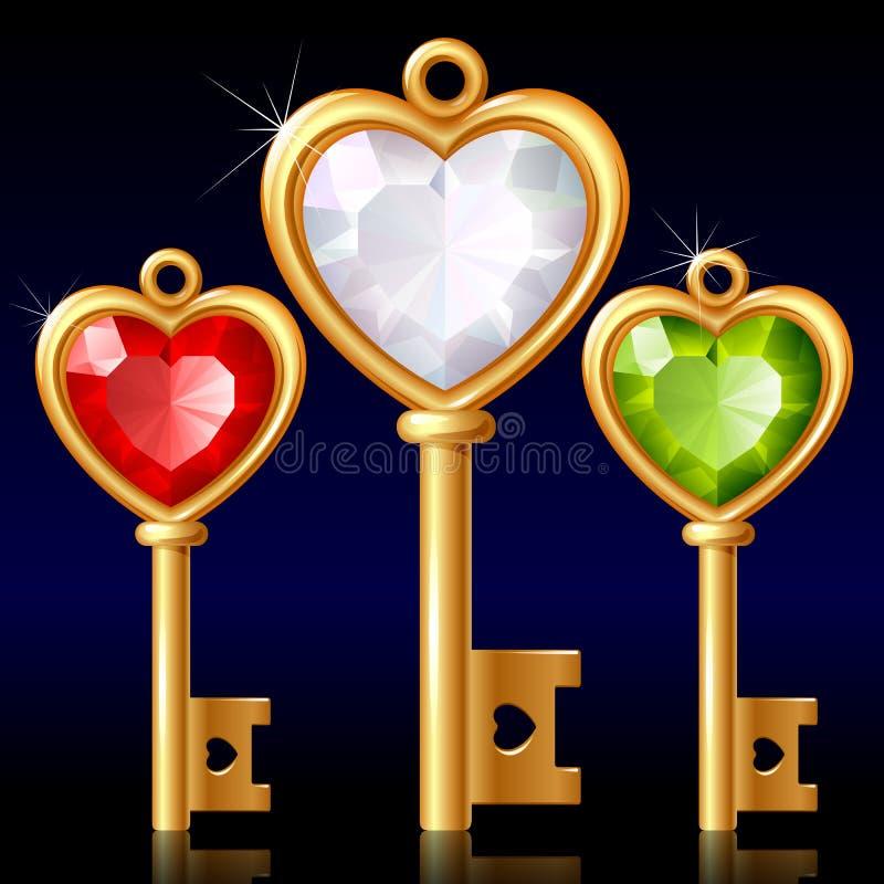 Três chaves douradas com coração da jóia ilustração do vetor