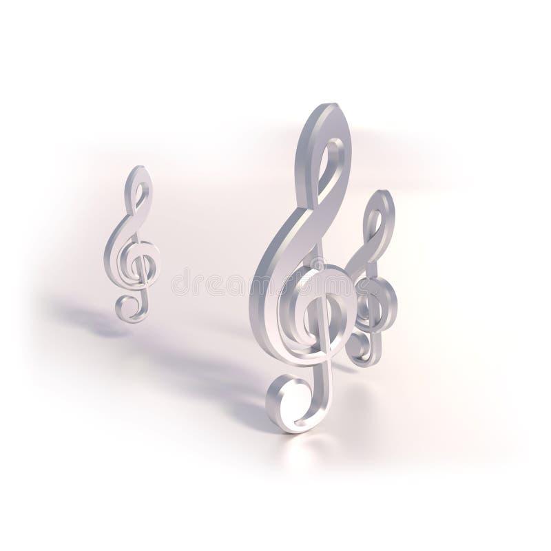 Três claves e músicas fotografia de stock royalty free