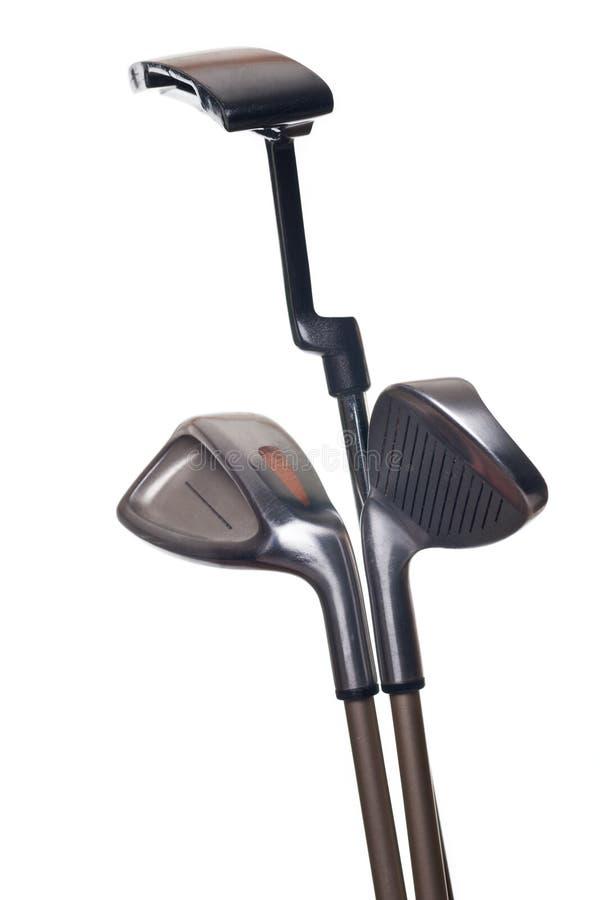 Três clubes de golfe foto de stock