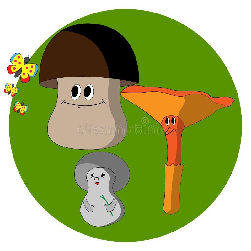 Três cogumelos que olham uma borboleta ilustração stock