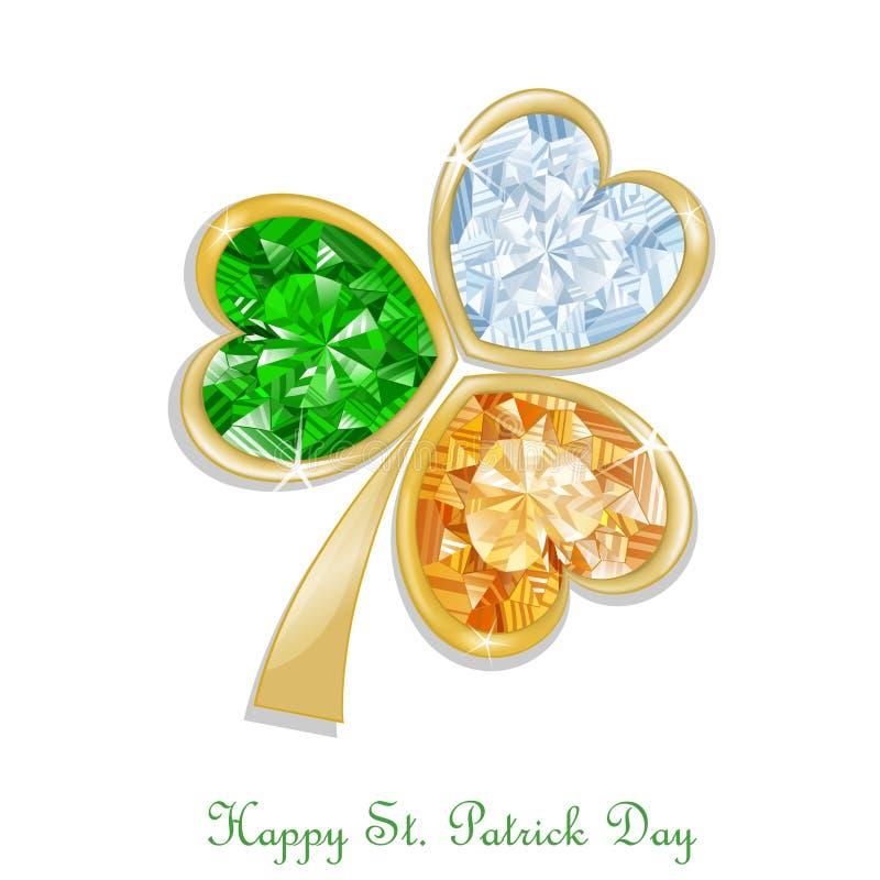 Três coloriram o diamante do trevo para o dia do ` s de St Patrick ilustração do vetor