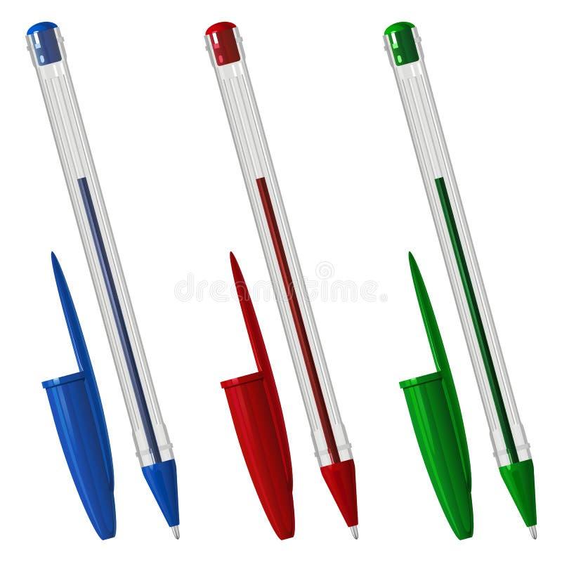 Três coloriram penas de esferográfica plásticas com tampões, em um caso sextavado transparente ilustração do vetor