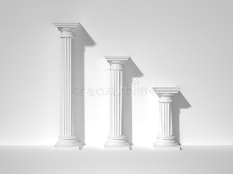 Três colunas gregas brancas rendição 3d ilustração royalty free
