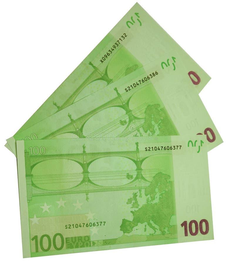 Três contas de cem euro isolados fotos de stock royalty free