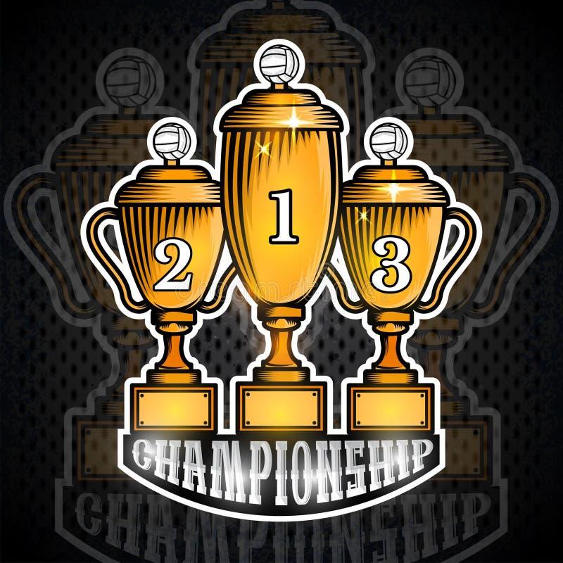 Três copos dourados do voleibol primeiramente em segundo e terceiro lugar Bandeira do esporte do vetor ilustração royalty free
