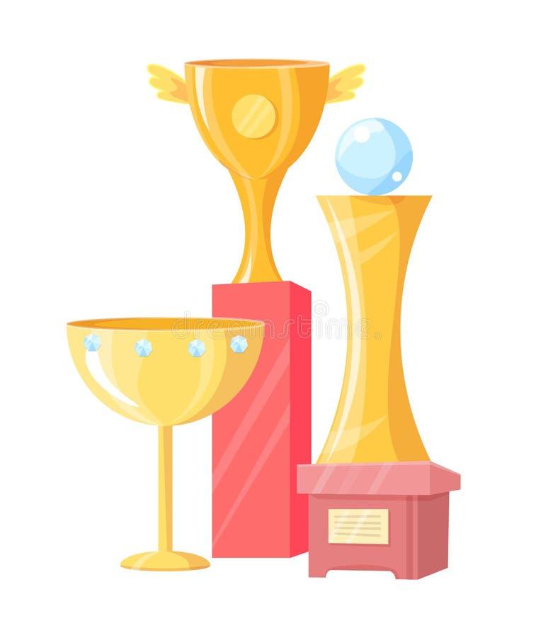 Três copos dourados isolados no fundo branco ilustração stock