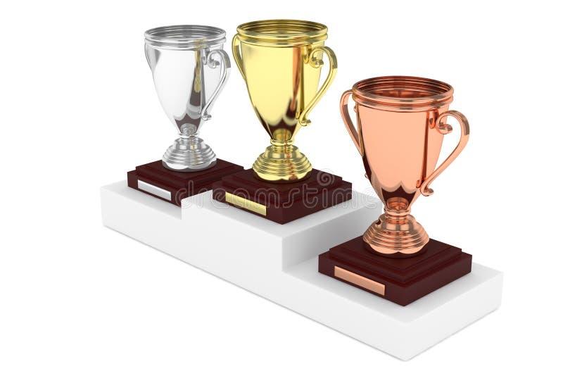 Três copos no suporte rendição 3d ilustração royalty free