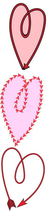 Três corações da seta imagem de stock royalty free