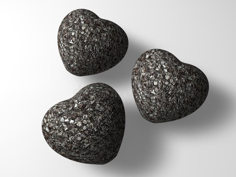 Três corações de pedra foto de stock