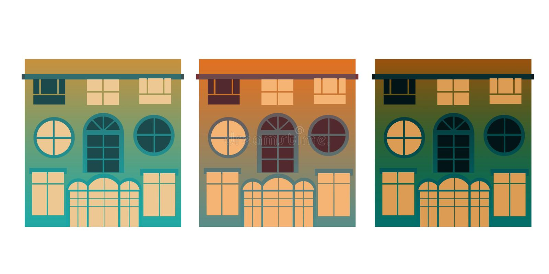 Três cores isoladas do outono das casas ilustração royalty free