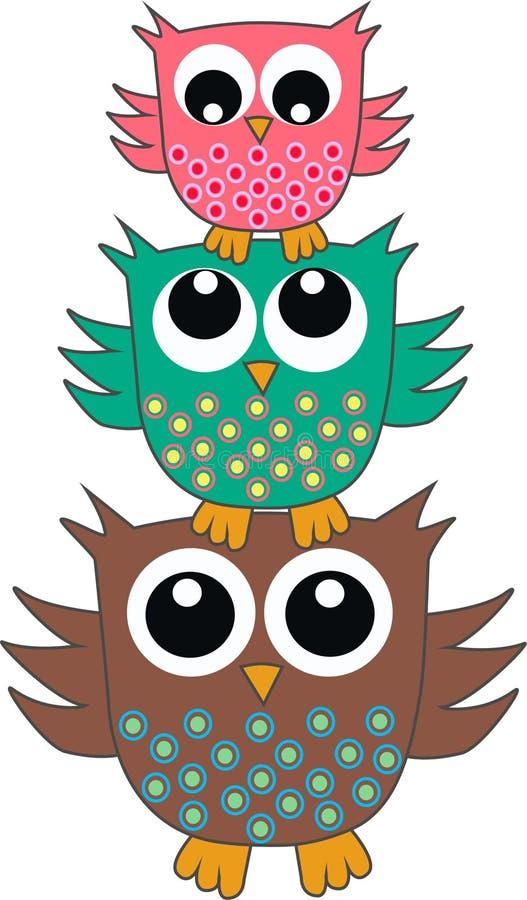 Três corujas bonitos ilustração stock