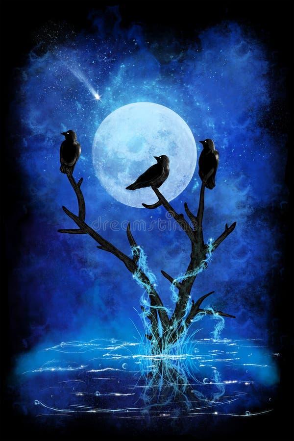 Três corvos pretos ilustração stock
