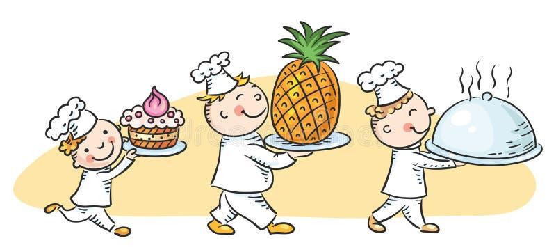 Três cozinheiros felizes dos desenhos animados ilustração stock