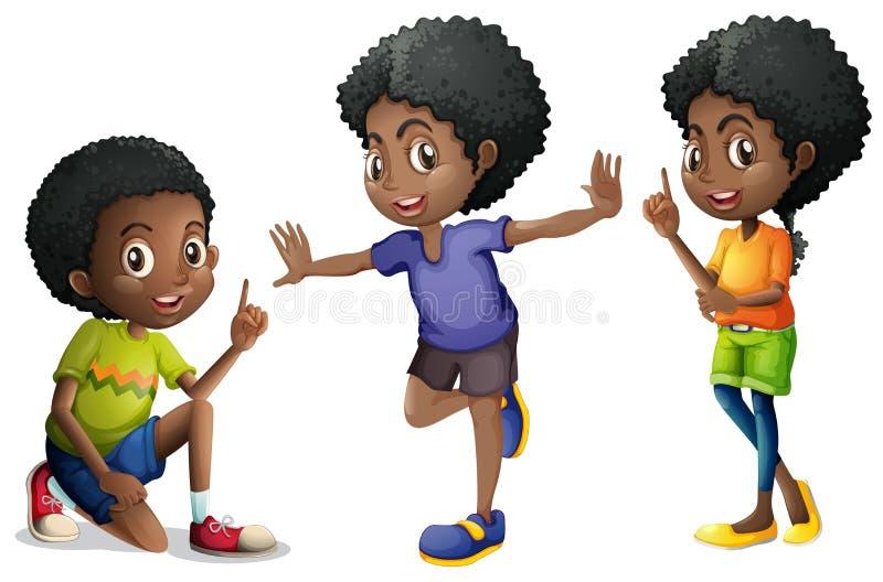 Três crianças afro-americanos ilustração royalty free
