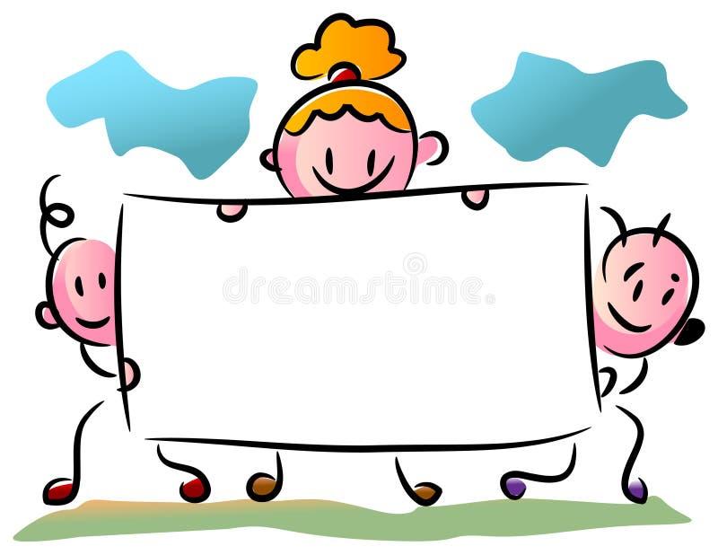 Três crianças com uma bandeira ilustração royalty free