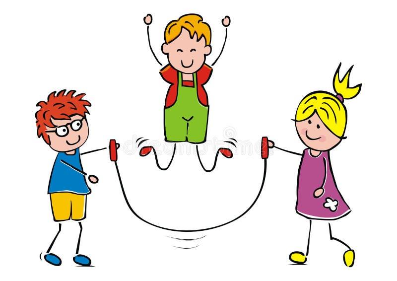 Três crianças de sorriso com corda de salto, eps ilustração royalty free