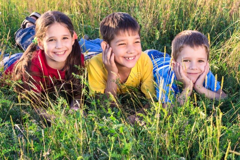Três crianças de sorriso no prado imagens de stock royalty free