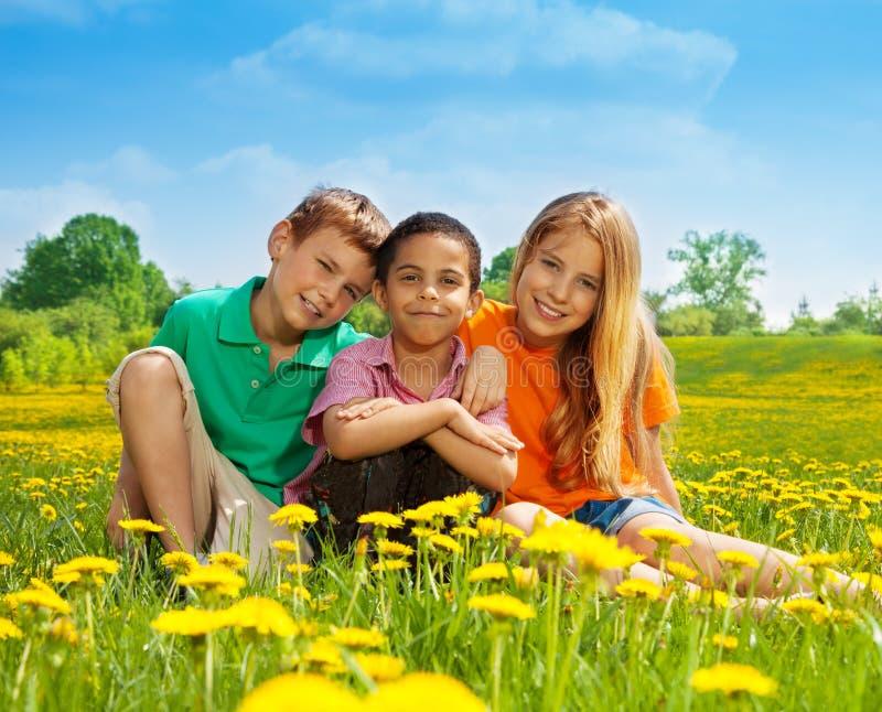 Três crianças felizes no campo fotografia de stock royalty free