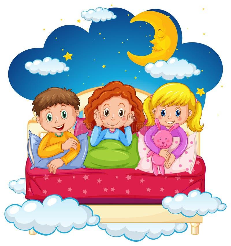 Três crianças nos pijamas na noite ilustração stock