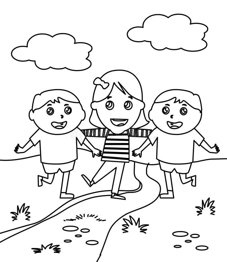 Três crianças pequenas que colorem a página ilustração stock