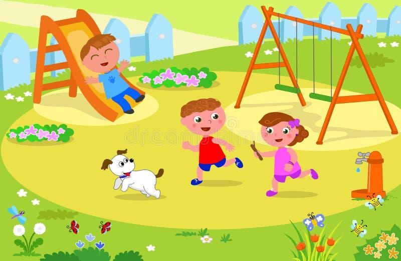 Três crianças que jogam no campo de jogos ilustração royalty free