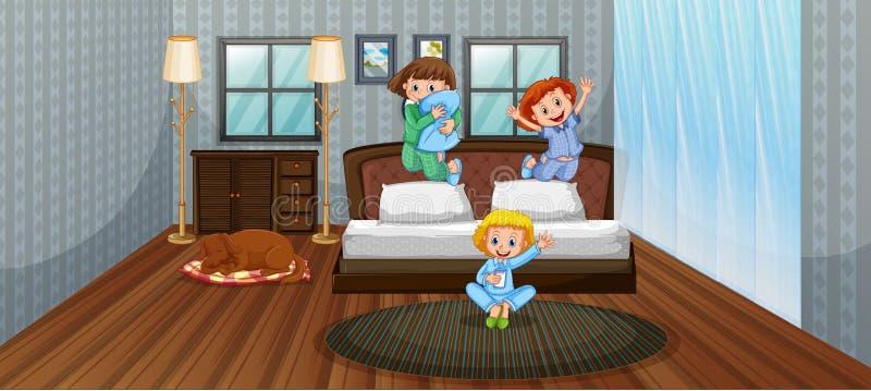 Três crianças que têm o divertimento no quarto ilustração stock