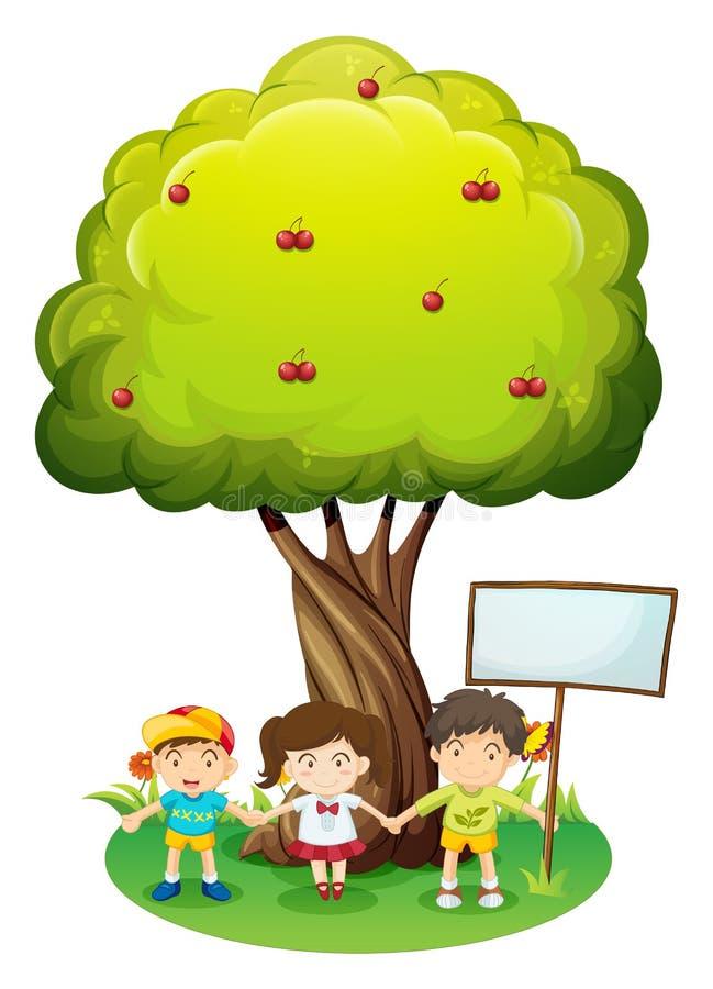 Três crianças sob a árvore com um quadro indicador vazio ilustração stock