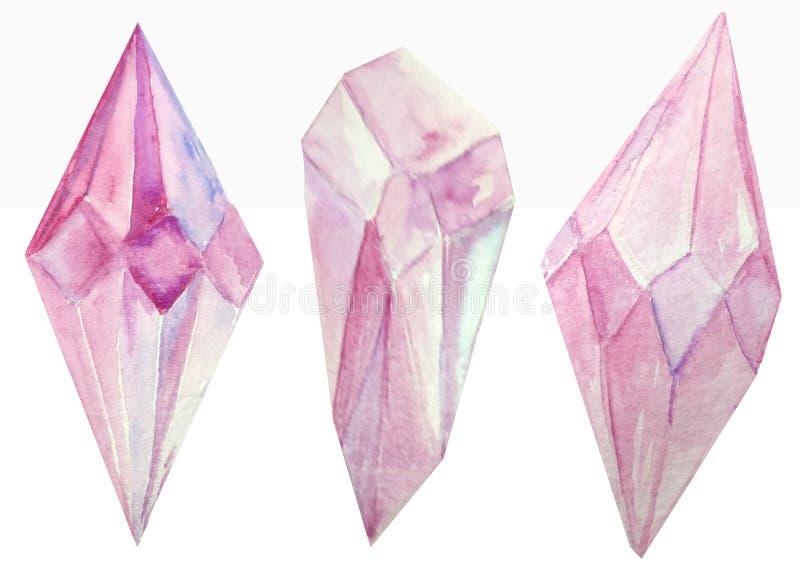 Três cristais do rosa da aquarela em um fundo branco ilustração da quadriculação para o projeto e a decoração dos cartazes, fotos de stock royalty free