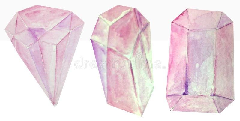Três cristais do rosa da aquarela em um fundo branco ilustração da quadriculação para o projeto e a decoração dos cartazes, fotografia de stock