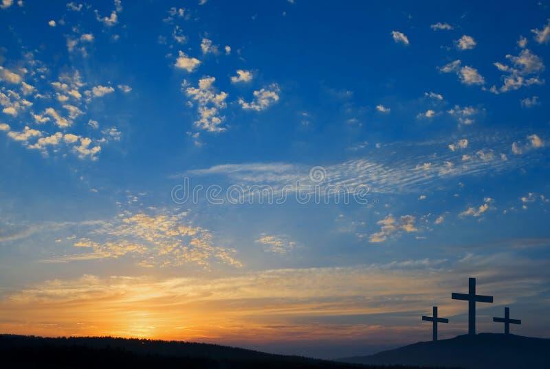 Três crucificação no monte fotografia de stock royalty free