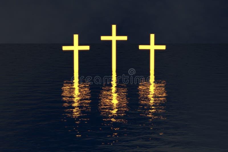 Três cruzam sobre a água que incandesce na escuridão fotos de stock royalty free