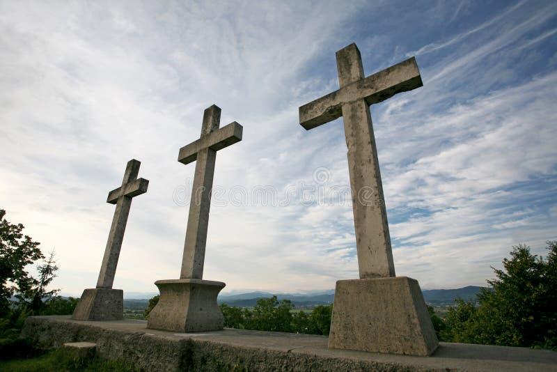 Três cruzes de pedra fotos de stock royalty free