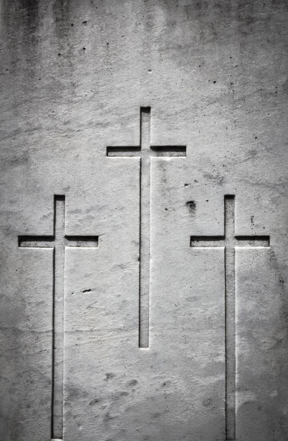 Três cruzes na pedra foto de stock royalty free