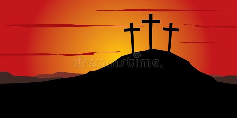 Três cruzes no monte ilustração stock